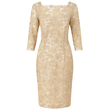 Buy Ariella Adeline Mesh Embellished Shift Dress, Gold Online at johnlewis.com