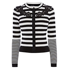 Buy Karen Millen Compact Stretch Knits Cardigan, Black/White Online at johnlewis.com
