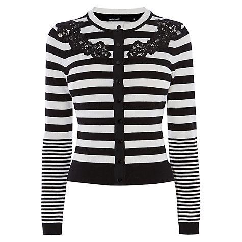 Buy Karen Millen Compact Stretch Knits Cardigan, Black/White Online at johnlewis.com