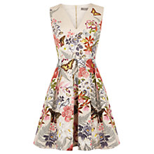 Buy Oasis Botanical Placement Skater Dress, Neutral/Multi Online at johnlewis.com