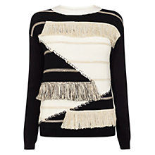 Buy Karen Millen Fringe Jumper, Neutral/Black Online at johnlewis.com