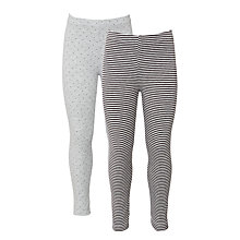 Buy John Lewis Girls' Spot And Stripe Leggings, Pack of 2 Online at johnlewis.com