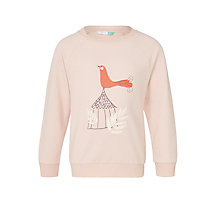 Buy John Lewis Girls' Graphic Bird Sweatshirt, Pink Online at johnlewis.com