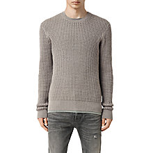 Buy AllSaints Kargg Waffle Knit Jumper, Military Grey Online at johnlewis.com