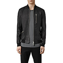 Buy AllSaints Utility Leather Bomber Jacket, Black Online at johnlewis.com