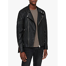 Buy AllSaints Jasper Leather Biker Jacket, Black Online at johnlewis.com