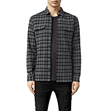Buy AllSaints Arcade Check Shirt, Deep Ocean Blue Online at johnlewis.com