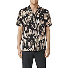 Buy AllSaints Juneau Short Sleeve Shirt, Black And Pink Online at johnlewis.com