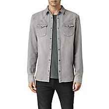 Buy AllSaints Hanra Long Sleeve Shirt, Grey Online at johnlewis.com