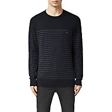 Buy AllSaints Wherry Stripe Crew Neck Jumper, Ink Navy Online at johnlewis.com