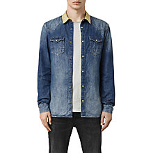 Buy AllSaints Tanner Long Sleeve Shirt, Mid Indigo Blue Online at johnlewis.com