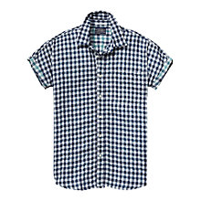 Buy Scotch & Soda Open Weave Check Cotton Shirt, Navy Online at johnlewis.com