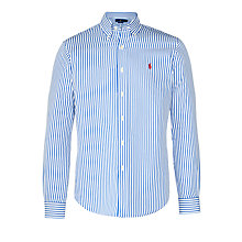 Buy Polo Ralph Lauren Slim Fit Button Down Pin Point Collar Shirt, Royal/White Online at johnlewis.com