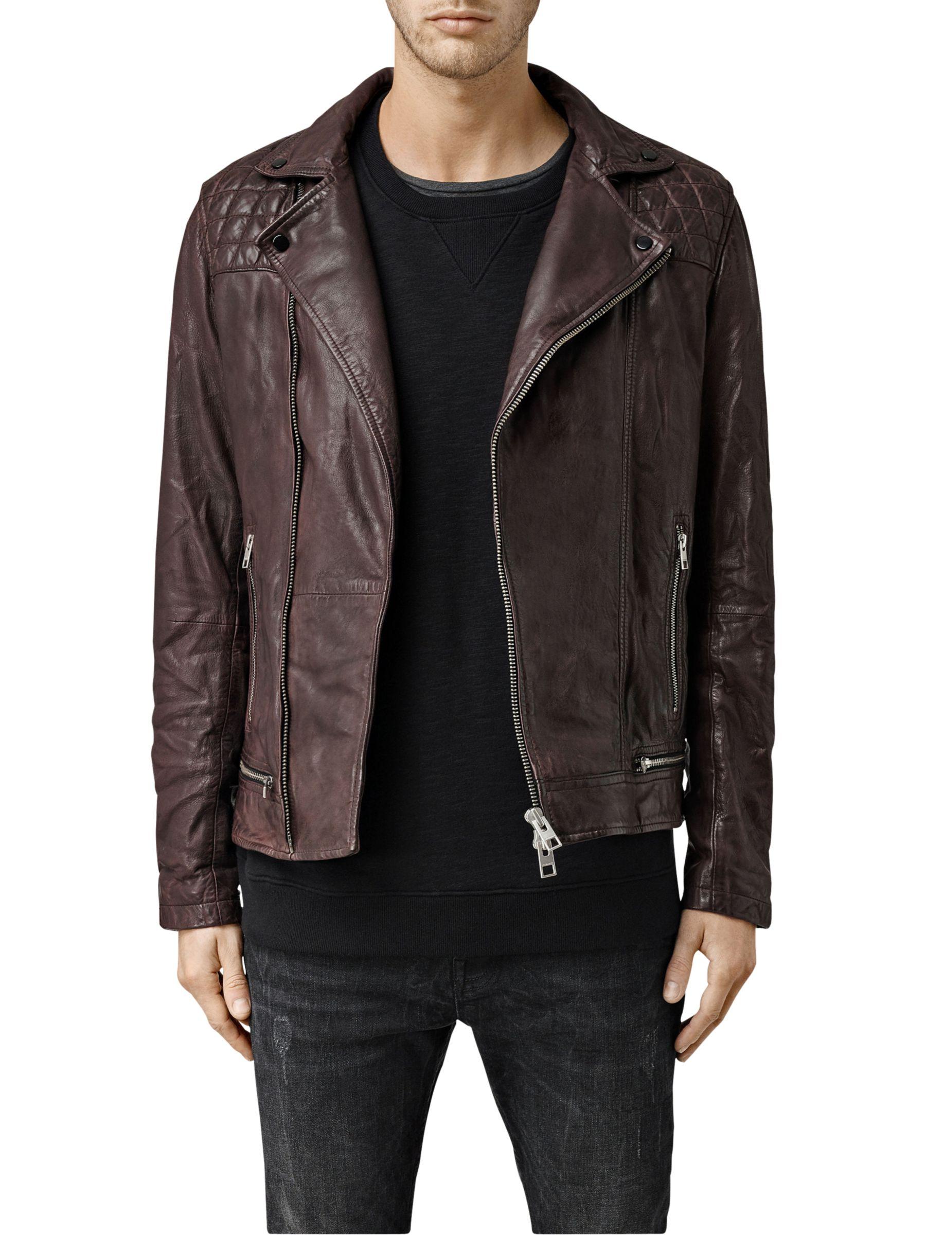 AllSaints Conroy Leather Biker Jacket, Oxblood
