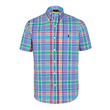 Buy Polo Ralph Lauren Slim Fit Button Down Point Collar Short Sleeve Shirt, Pink/Blue Online at johnlewis.com