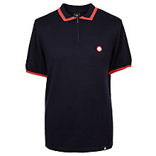 Buy Pretty Green Lowry Merino Zip Polo Shirt, Navy Online at johnlewis.com