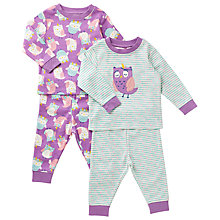 Buy John Lewis Baby Owl Theme Pyjamas, Pack of 2, Purple/Blue Online at johnlewis.com
