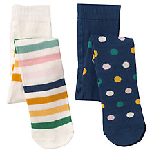 Buy John Lewis Baby Spot and Stripe Tights, Pack of 2, Navy/Multi Online at johnlewis.com