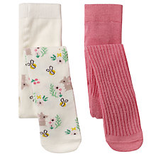 Buy John Lewis Baby Mouse Pattern and Plain Tights, Pack of 2, Pink/Multi Online at johnlewis.com