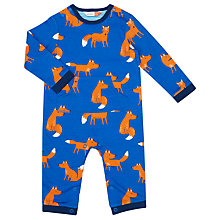 Buy John Lewis Baby Fox Print Romper, Blue Online at johnlewis.com