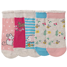 Buy John Lewis Baby Mouse and Floral Socks, Pack of 5, Pink/Multi Online at johnlewis.com