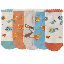 Buy John Lewis Baby Fox Character Socks, Pack of 5, Neutral/Multi Online at johnlewis.com