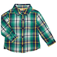 Buy John Lewis Baby Plaid Twill Shirt, Green Online at johnlewis.com