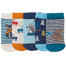 Buy John Lewis Baby Bear and Mouse Socks, Pack of 5, Red/Multi Online at johnlewis.com