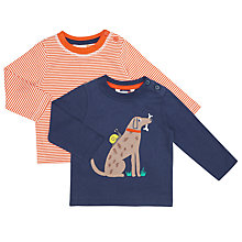 Buy John Lewis Baby Dog Striped Top, Pack of 2, Navy/Red Online at johnlewis.com