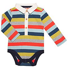 Buy John Lewis Baby Collared Stripe Bodysuit, Multi Online at johnlewis.com
