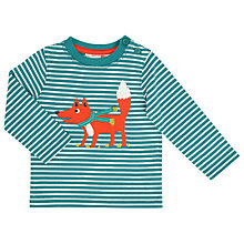 Buy John Lewis Baby Striped Fox Print Top, Teal/White Online at johnlewis.com