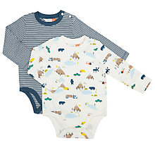 Buy John Lewis Baby Striped Print Bodysuit, Pack of 2, Assorted Online at johnlewis.com