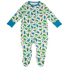 Buy Frugi Organic Baby Dino Sleepsuit, Cream/Multi Online at johnlewis.com