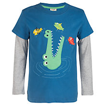 Buy Frugi Organic Boy's Crocodile Applique Top, Navy Online at johnlewis.com