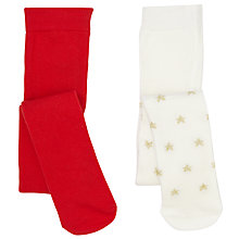 Buy John Lewis Baby Reindeer Tights, Pack of 2, Red/Multi Online at johnlewis.com