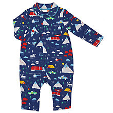 Buy John Lewis Baby Woodland Romper, Blue Online at johnlewis.com