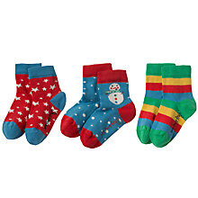 Buy Frugi Organic Baby Snowman and Star Socks, Pack of 3, Assorted Online at johnlewis.com