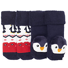 Buy John Lewis Baby Penguin Rattle Socks, Pack of 2, Navy/Red Online at johnlewis.com