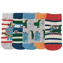 Buy John Lewis Baby Dinosaur Socks, Pack of 5, Green/Multi Online at johnlewis.com