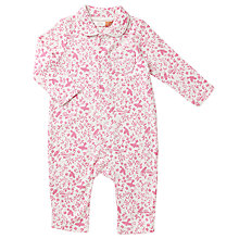 Buy John Lewis Baby Floral Collared Pyjamas, Pink Online at johnlewis.com