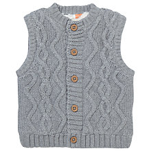 Buy John Lewis Baby Cable Knit Gilet, Grey Online at johnlewis.com