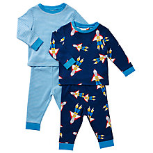 Buy John Lewis Baby Rocket Theme Pyjamas, Pack of 2, Navy Online at johnlewis.com