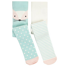 Buy John Lewis Baby Fox Character Tights, Pack of 2, Turquoise/Cream Online at johnlewis.com