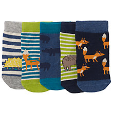 Buy John Lewis Baby Fox Character Socks, Pack of 5, Blue/Multi Online at johnlewis.com