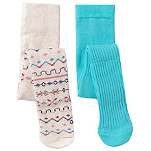 Buy John Lewis Baby Fair Isle and Plain Tights, Pack of 2, Oatmeal/Multi Online at johnlewis.com