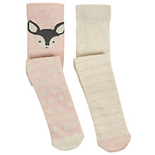 Buy John Lewis Baby Deer Character Tights, Pack of 2, Pink/Cream Online at johnlewis.com
