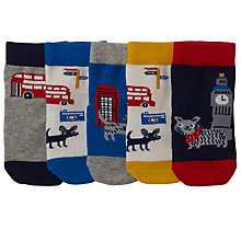 Buy John Lewis Baby London Socks, Pack of 5, Blue/Multi Online at johnlewis.com
