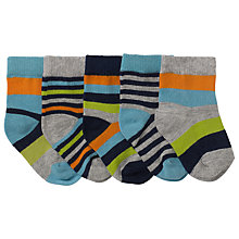 Buy John Lewis Baby Striped Socks, Pack of 5, Grey/Multi Online at johnlewis.com