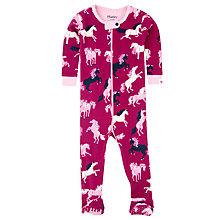Buy Hatley Baby Fairy Tale Horses Sleepsuit, Pink Online at johnlewis.com