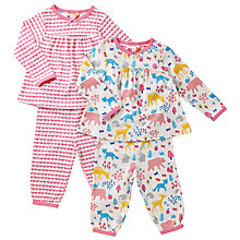 Buy John Lewis Baby Woodland Theme Pyjamas, Pack of 2, Pink Online at johnlewis.com